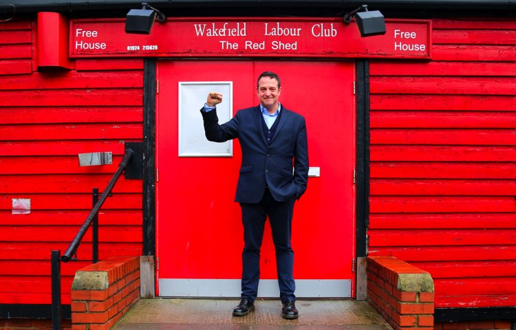 Mark Thomas outside The Red Shed in Wakefield