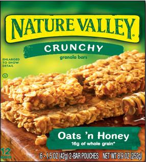 Nature Valley Oats 'n Honey granola bar box