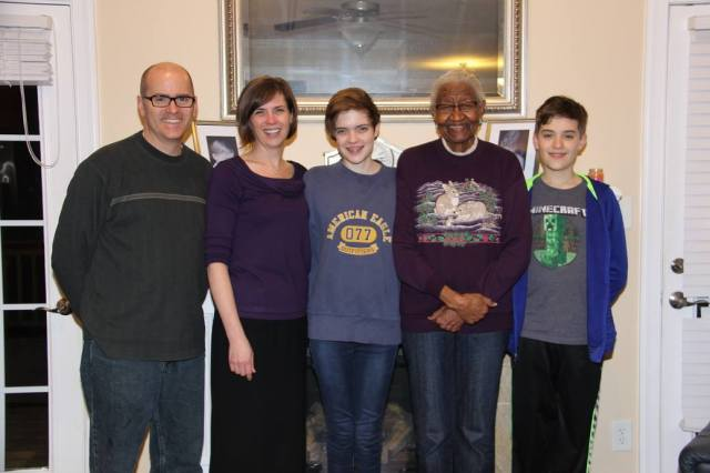 Miss Ruth Gartrell poses with the Turner family, February 2016.