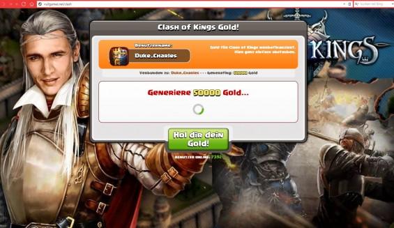 Nach der Bestätigung wird angeblich eine Verbindung mit den Clash of Kings Servern hergestellt und die gewünschte Goldsumme generiert.