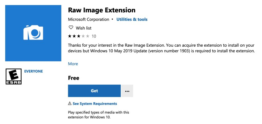 Microsoft RAW Image Extension