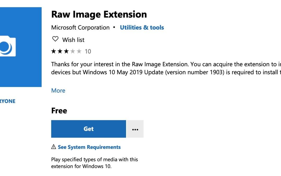 Windows 10: Erweiterung ermöglicht Vorschau von RAW-Fotos