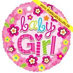 Folienballon baby-girl-rund