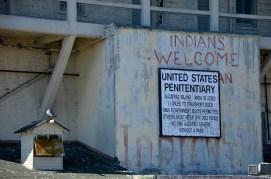 Informationsschild auf Alcatraz Island