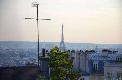 Blick auf den Eiffelturm von La Basilique du Sacré Coeur