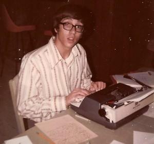 Mark Whittaker at manual typewriter