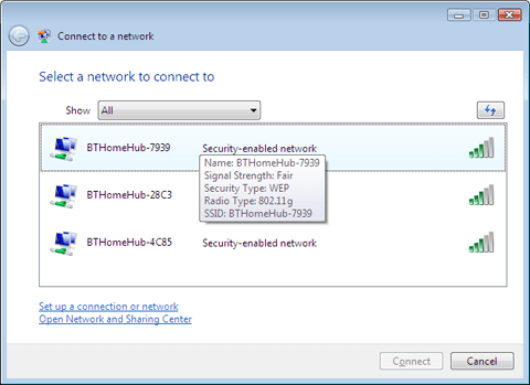 Available wireless networks, as reported in Windows Vista