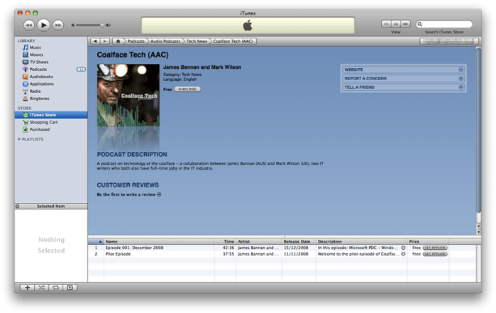 Coalface Tech in iTunes
