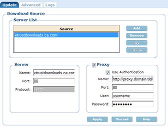 CA eTrust update configuration, with no option to use the browser settings