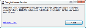 Error 1625 when installing Google Chrome