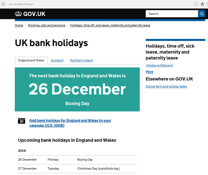 Gov.UK website UK Bank Holidays page