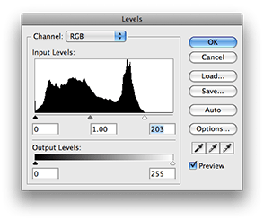 Adjusting levels using the histogram