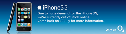 Image from the O2 website explaining that there are no more iPhones available online