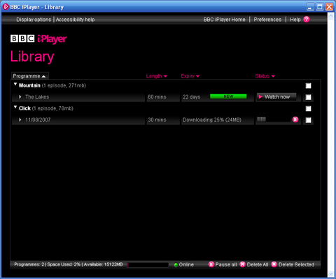 BBC iPlayer - downloading