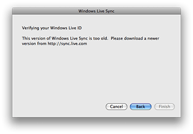 Windows Live Sync is too old too...
