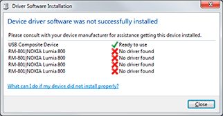 Nokia Lumia 800 driver installation fails on Windows 7