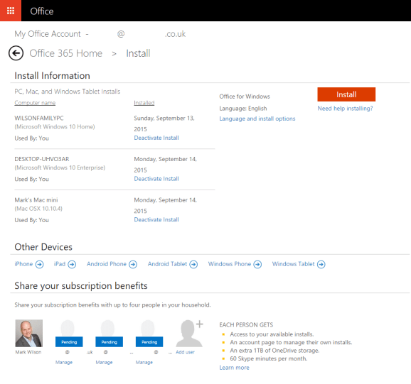 Office 365 Home - Managing installed copies