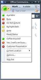 Custom presence states in Office Communicator