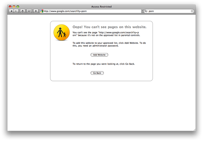 Parental Controls preventing website access in Safari on Mac OS X 10.5
