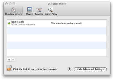 Mac OS X 10.5 Directory Utility - Directory Servers