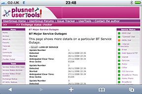 Plusnet Exchange Checker showing a major service outage at my local telephone exchange