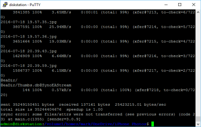 Using rsync to keep folders in sync on a Synology