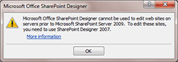 Microsoft Office SharePoint Designer cannot be used to edit web sites on servers prior to Microsoft SharePoint Server 2009. To edit these sites, you need to use SharePoint Designer 2007.