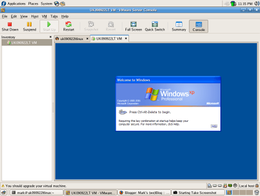 Windows XP in VMware Server running on Fedora Core 5