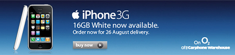 Apple iPhone 3G available in white at Carphone Warehouse