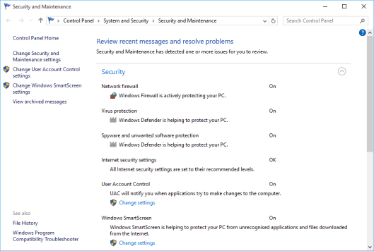 Windows 10 Control Panel - Security and Maintenance