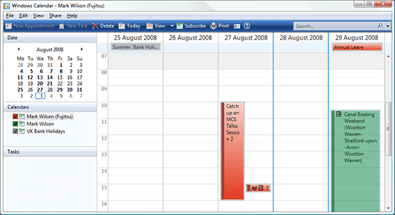 Multiple calendars in Windows Calendar