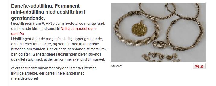 Auf der Website des Nationalmuseet Danmark finden sich Pinterest-Button direkt unter einzelnen Bildern - eine Einladung zum Teilen (Screenshot von www.natmus.dk).