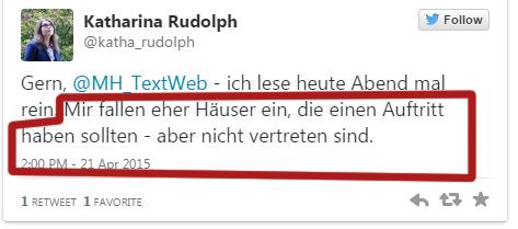 Tweet Katharina Rudolph am 21.4.2015