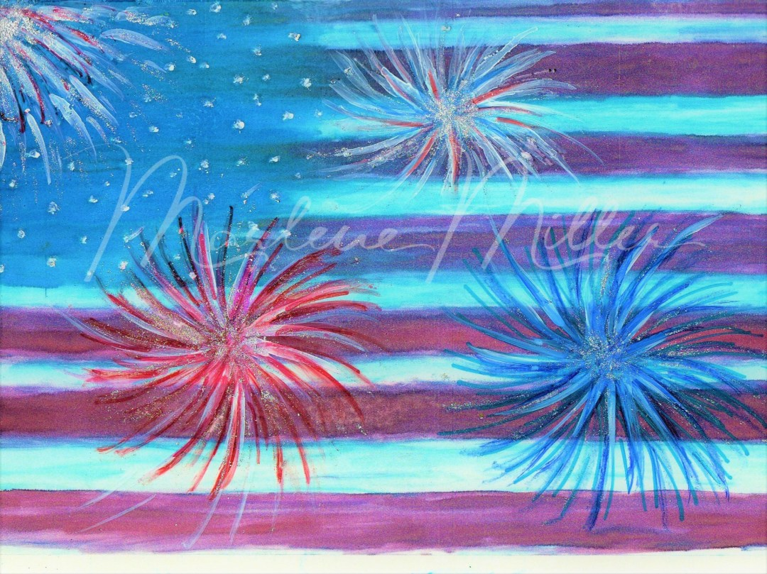 """""""Freedom Fireworks"""" alcohol ink painting"""