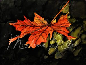 """""""Autumn Maple Leaf"""" alcohol ink painting"""