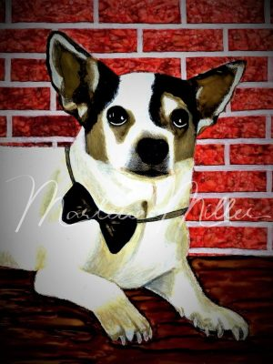 """Pet Portrait painting of """"Brick"""" in alcohol inks."""