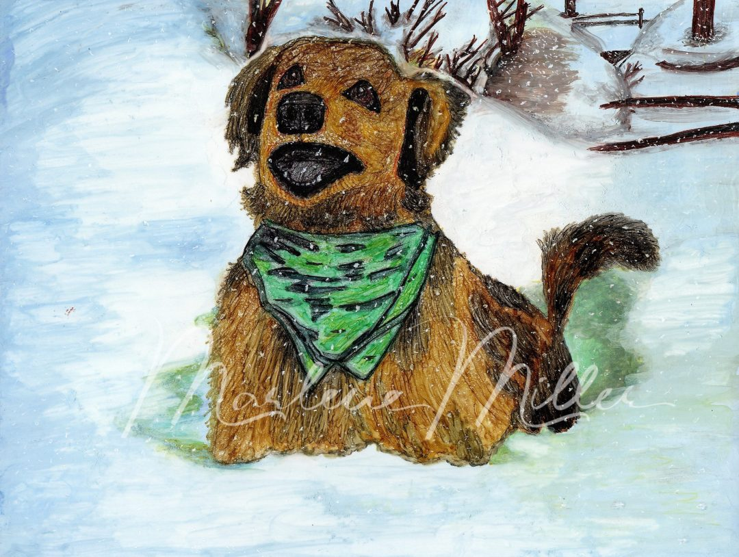 "Pet Portrait painting of ""Charlie's Snow Report"" in alcohol inks."