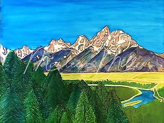 """""""Grand Tetons"""" alcohol ink painting"""
