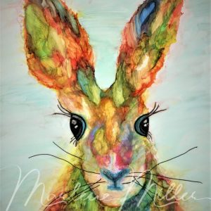 """""""Honey Bunny"""" alcohol ink painting"""