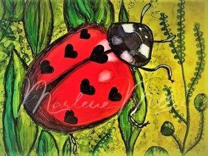 """Lady LoveBug"" alcohol ink painting"
