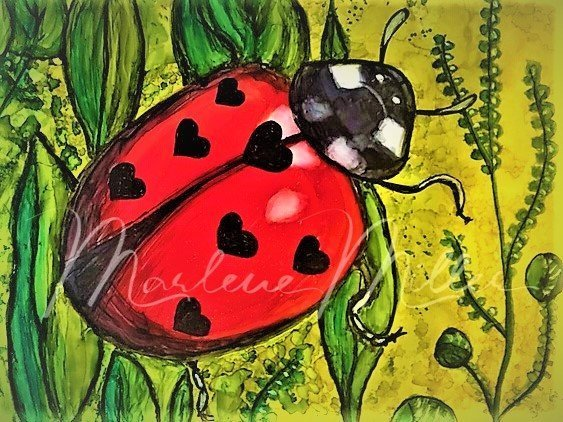 """Lady LoveBug"" alcohol ink painting"