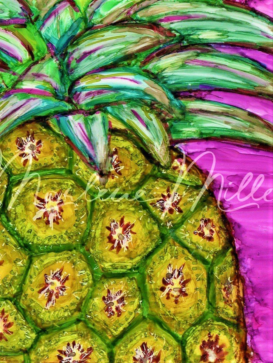 """Aloha Pineapple"" alcohol ink painting"