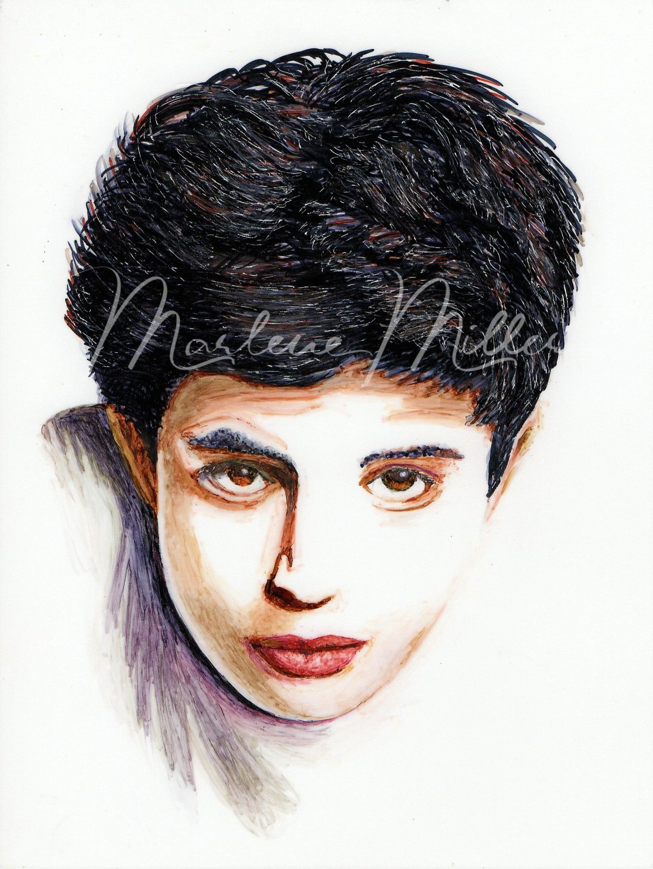 """Pretty Boy"" alcohol ink portrait painting"
