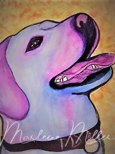 """Pet Portrait painting of """"Sparkles"""" in alcohol inks."""