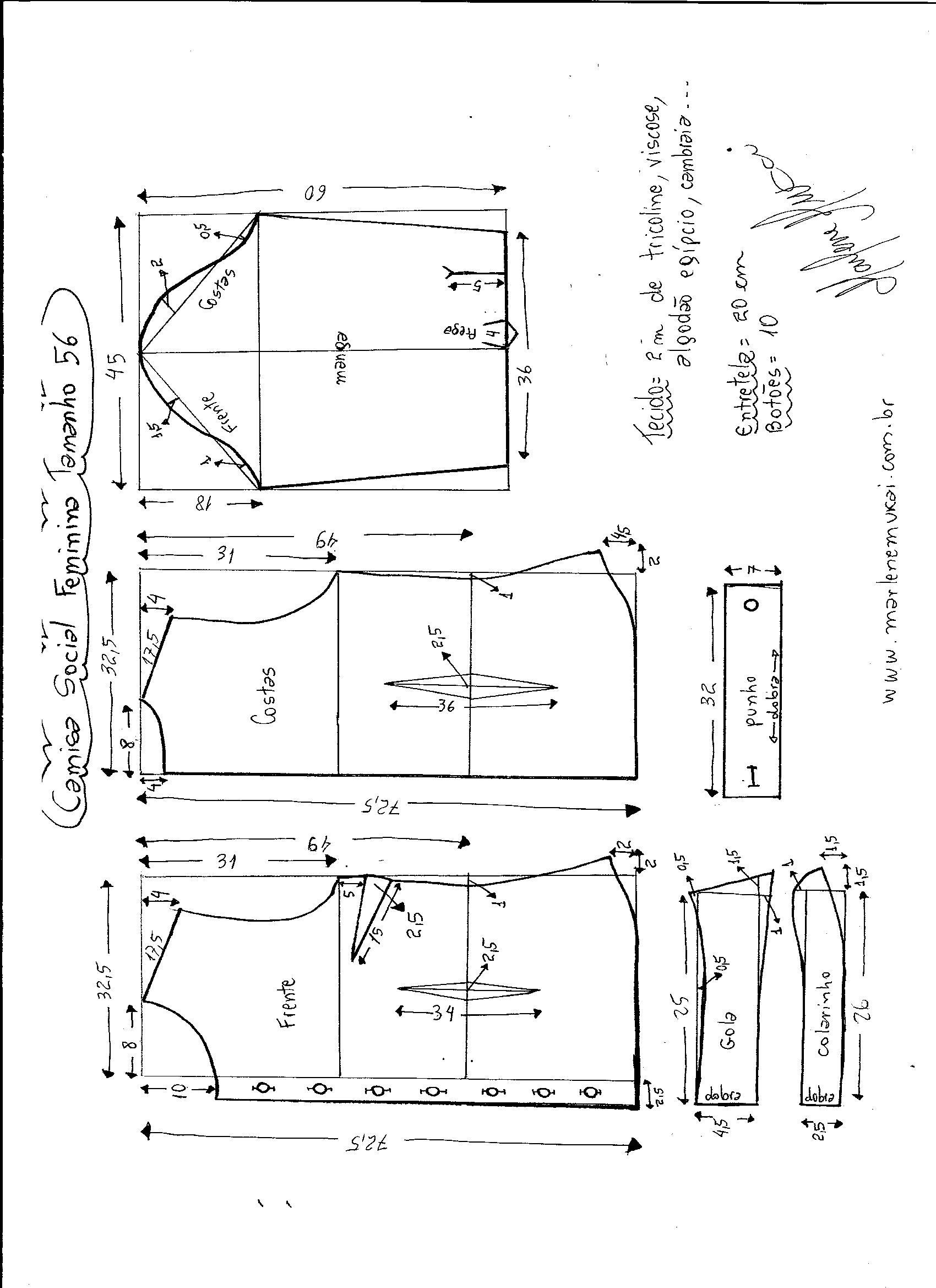 5ec4fb708d Esquema de modelagem de Camisa Social Feminina tamanho 56.