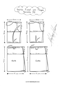 Molde de Vestido Evasê com Pregas tamanho 54.