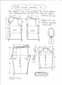 Esquema de modelagem de pijama unisex tamanho 50.