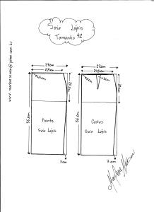 Esquema de Modelagem de Saia Lápiis tamanho 42.