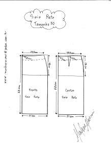 Esquema de modelagem de saia reta tamanho 50.