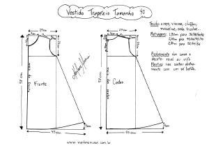 Esquema de molde de Vestido Trapézio tamanho 40.